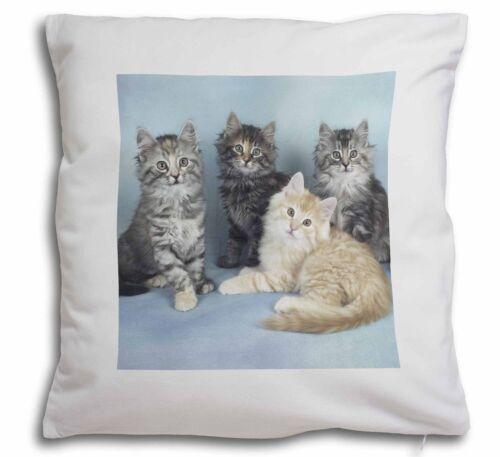 AC-56-CPW Cute Fluffy Kittens Soft Velvet Feel Cushion Cover With Inner Pillow