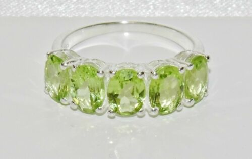 All Sizes Sterling Silver Peridot 5 Stone Ring Real 925 Silver