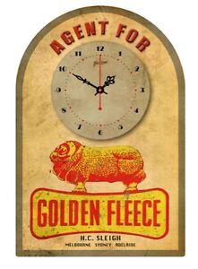 GOLDEN FLEECE  VINTAGE  TIN SIGN CLOCK Agent for..