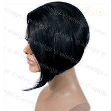 Wiwigs Jet Black Posh Short Asymetric Bob Skin Top Ladies Wig