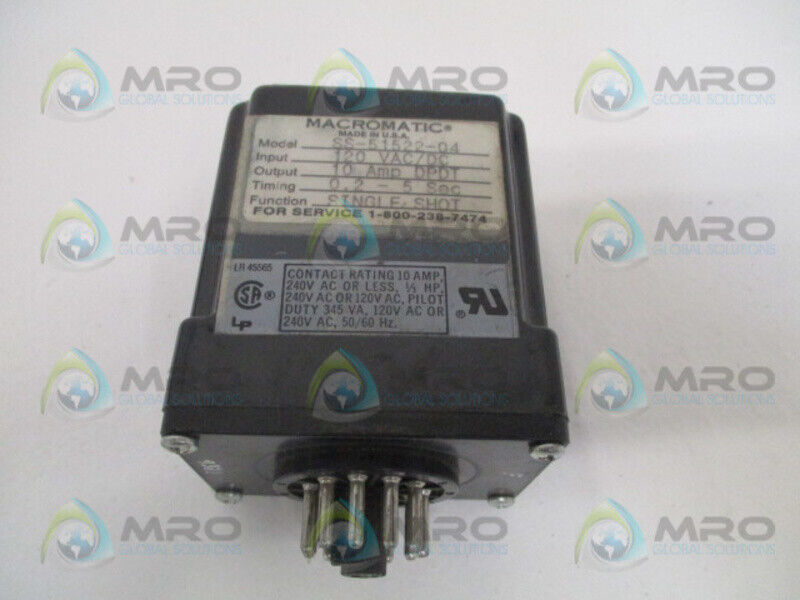 MACROMATIC SS-51522-04 TIME DELAY RELAY 120VAC 0.2-5SEC USED