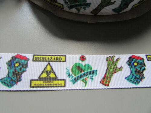 Zombie Bio hazard Grosgrain Ribbon 2.2cm  x 1 Metre  Sewing//Costume//Crafts//Cake