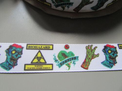 Zombie Bio hazard Grosgrain Ribbon 2.2cm  x 1 Metre  Sewing//Costume//Crafts//Cake