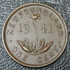 OLD CANADIAN COIN - 1941 NEWFOUNDLAND ONE CENT - George VI - Re-engraved Date