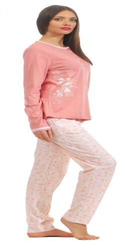 Klassischer Damen Pyjama Schlafanzug mit Knopfleiste am Hals 181 201 90 206