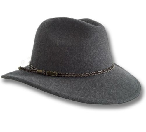【oZtrALa】Fedora HAT Australian Wool Felt Outback Jacaru Mens Leather Band Cowboy