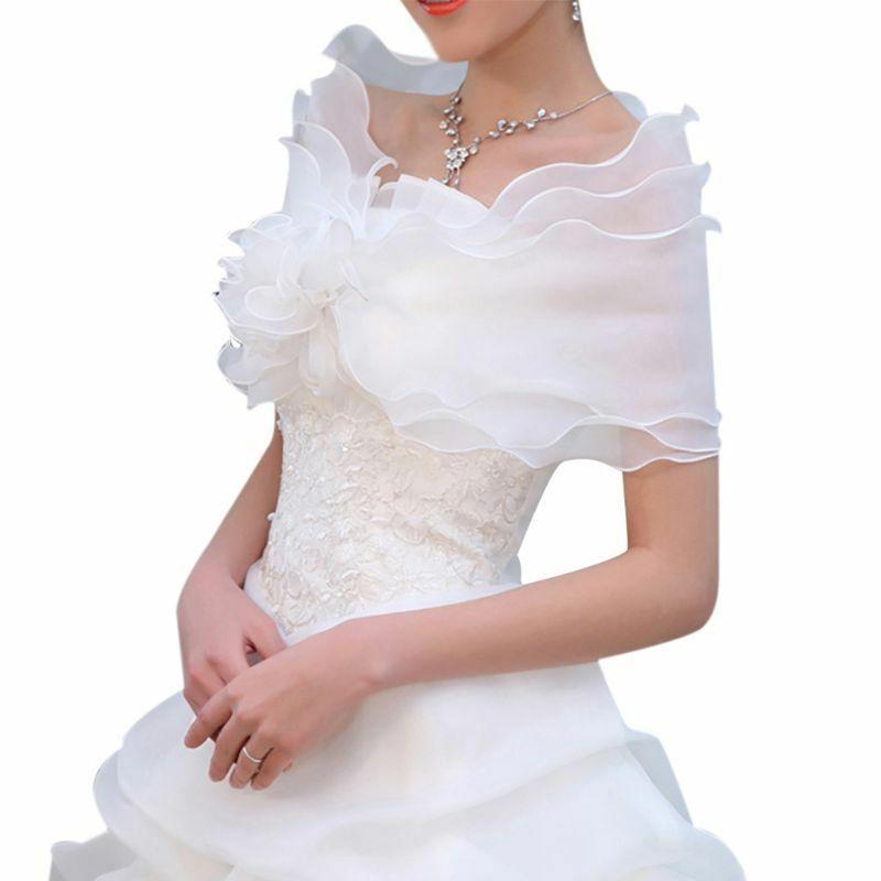 New Elegant White Flower Multi Layer Tulle Shawl Wedding Wrap Bridal Fairy Coat