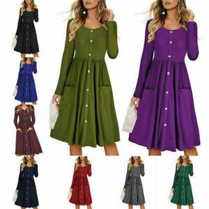 Women-Pleated-Loose-Swing-Casual-Shirt-Dress-Party-Tunic-Long-Sleeve-Midi-Dress