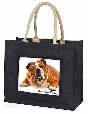 Bulldog' liebe Dich Papa' Stimmung große schwarze Einkaufstasche Weihnachten,
