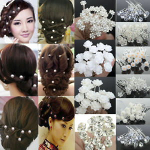 Elegant-20-40Pcs-Wedding-Bridal-Bridesmaid-Pearl-Flower-Crystal-Hair-Pins-Clips