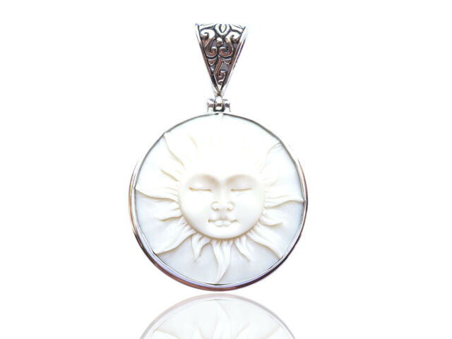 Sun Moon Face Buffalo Bone Carving Bali Sterling Silver 925 Pendant T 166 For Sale Online Ebay