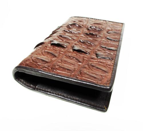 New Brown Genuine Leather Crocodile Alligator Tail Unisex Passport Holder Wallet