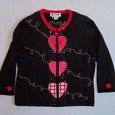 JACK B QUICK Valentines Sweater Medium Beaded Accents 3/4 Sleeves M Lightweight