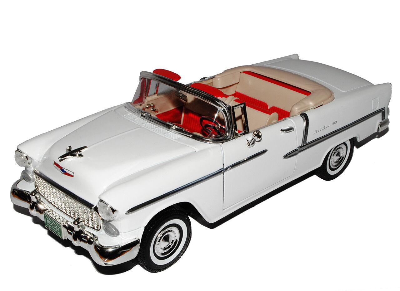 Chevrolet Bel Air Cabrio Weiss Weiss Weiss mit abnehmbarem Hard Top 1955 1 18 Motormax Mod.. f48b5e