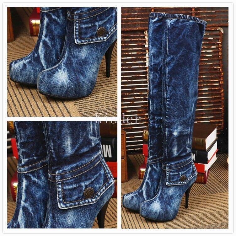 Punk Donna Vintage Zipper Denim Blue Stiletto Heel Over Knee Jean Boots Shoe
