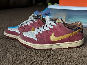 new product 8de25 79e7e Image is loading Nike-SB-Dunk-Low-Size-7-Ron-Burgundy-