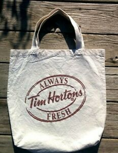 """HARD TO FIND 15 X 15"""" Cotton Canvas TIM HORTONS Reuseable Carry Bag w Handles"""