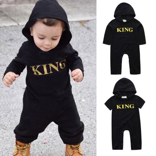 Baby Säugling Kapuze Strampler Jungen King Spielanzug Jumpsuit Overall Schwarz