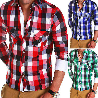 BEHYPE Herren Karo-Hemd Slim Poloshirt Slim Fit Kariert Rot/Grün/Blau/Weiß NEU