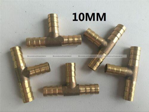 """5Pcs 10mm 3//8/"""" Latón Púas Tee T Pieza 3-Way Silicona Manguera De Combustible Adaptador De Carpintero"""