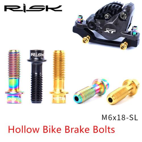 4Pcs Lightweight M6*18 Bike Disc Brake Clamp Ti Hollow Bolt MTB XT Fixing screw