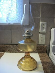 Vintage Large Amber Oil Lamp With Chimney And Wick Ebay