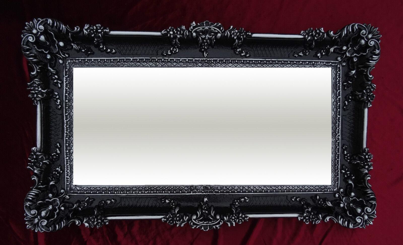 Miroir mural noir argent 96x57 ancien baroque shabby chic for Miroir rectangulaire argent
