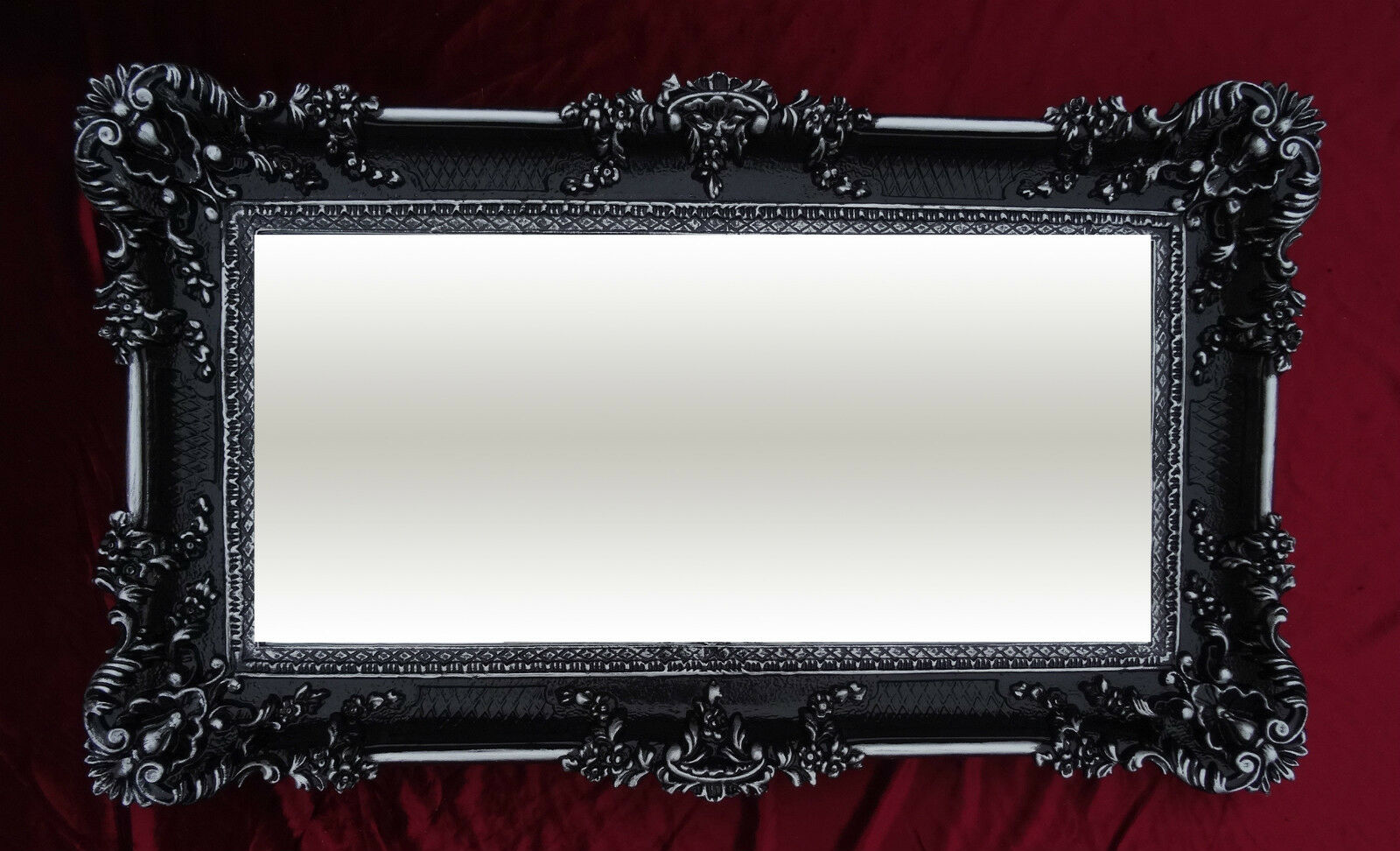 Miroir mural noir argent 96x57 ancien baroque shabby chic for Force de miroir ebay