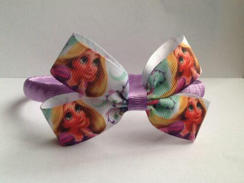 Girls Handmade Princess Rapunzel Ribbon Hair Bow Alice Band//Headband