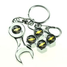 4pcs Chrome Wrench Keychain Wheel Tyre Tire Valve Stems Caps Cap For Chevrolet
