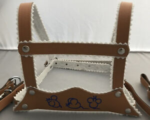 HARNESS-REINS-LEATHER-for-SILVER-CROSS-COACH-BUILT-BABY-PRAM-BEIGE-MICE-MOTIF