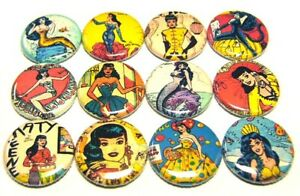 """Pinbacks 1/"""" 1950/'s Vintage Comic Pin Up Girl 12 KATY KEENE ONE Inch Buttons"""