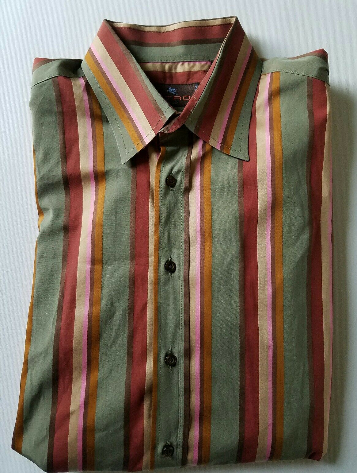 Etro Milano Button Down Spread Collar Striped Dress Casual Shirt 42 L   A012
