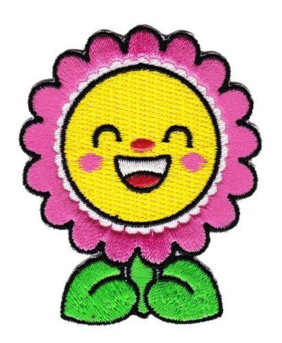 bg92 Sonnenblume Pink Aufnäher Blüten Bügelbild Applikation Kinder 5,4 x 6,6 cm