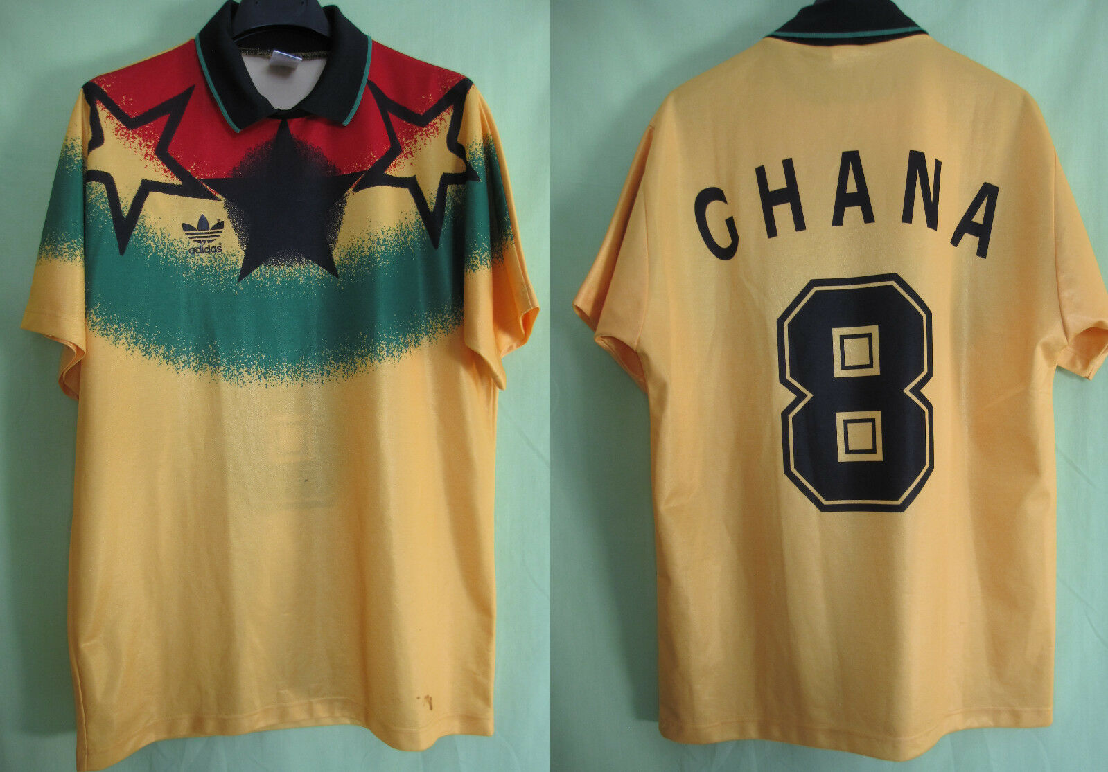 Maillot Ghana Porté n° 8 Adidas Domicile 1993 vintage Jersey Football - M