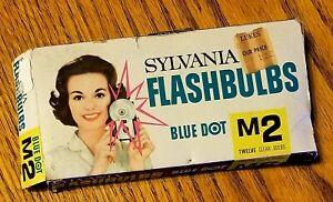 Sylvania Blue Dot M2 Flashbulbs In Original Box With 11 Flashbulbs Vintage