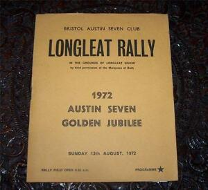 1972-BRISTOL-AUSTIN-SEVEN-CAR-CLUB-Programme-LONGLEAT-RALLY-List-Of-Entries