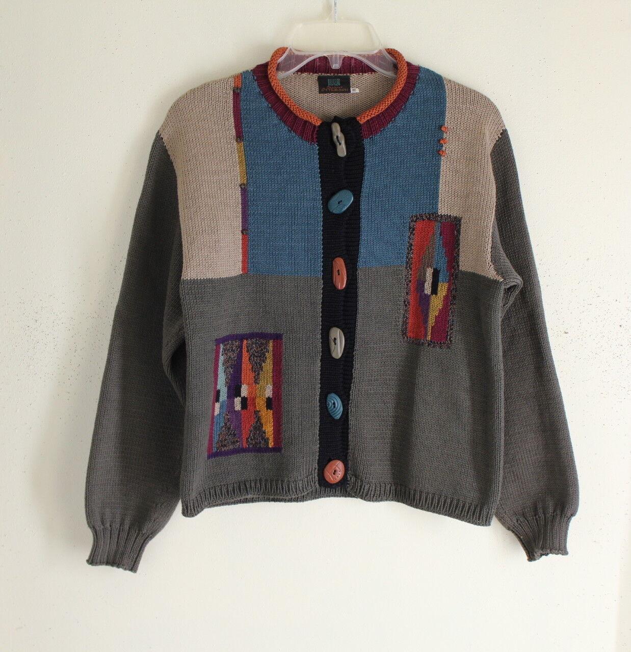 Susan Otterson, Sz M Fiber konstist konst -to -Wear Funky Hand -Made bildigan tröja