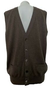 THOM-SWEENEY-MEN-039-S-TAUPE-BROWN-SWEATER-VEST-L-465