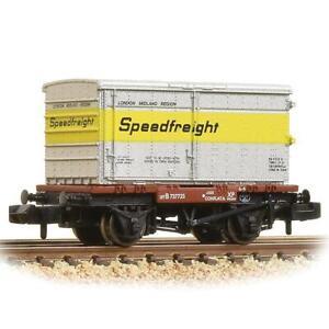Graham-Farish-377-345-N-Gauge-BR-Conflat-Wagon-w-Speedfreight-Container