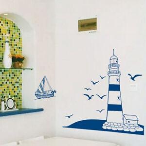 Nautical Theme Wall Sticker Blue Lighthouse Sea Gulls Sailboat Art