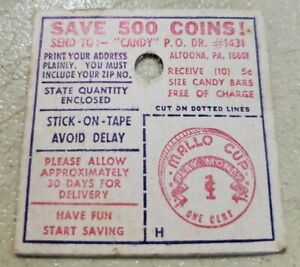 Vintage Mallo Cup Play Money 1 Cent Coin Boyer Candy Altoona PA FREE SHIPPING