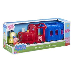 Peppa-Pig-Miss-Kaninchen-Zug-und-Kutsche-Spielset-Spielzeug-mit-2-Figur-Figuren