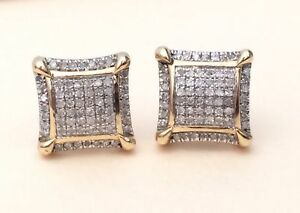 1def07e91 Image is loading 10K-Yellow-Gold-Finish-Diamond-Cubs-Studs-Concave-