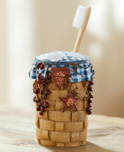 Primitive Country Hearts Stars Blue Toothbrush Holder Berries Checkers Decor Ebay
