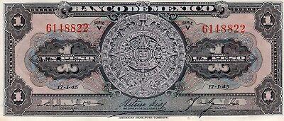 Pick:M4635 AU 1945 Banco de México 1 Peso aztec Calendar Serie V h 38c
