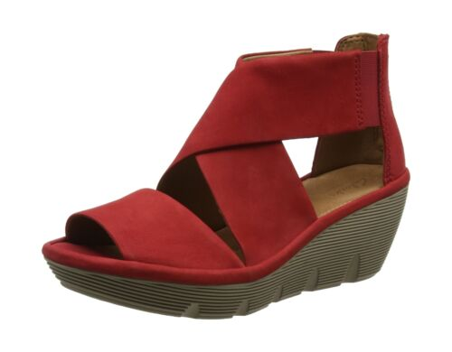 Wedge red Uk Heels Sandals 4 Red 5 Clarene Women's Nubuck Clarks Glamor qTUtx6