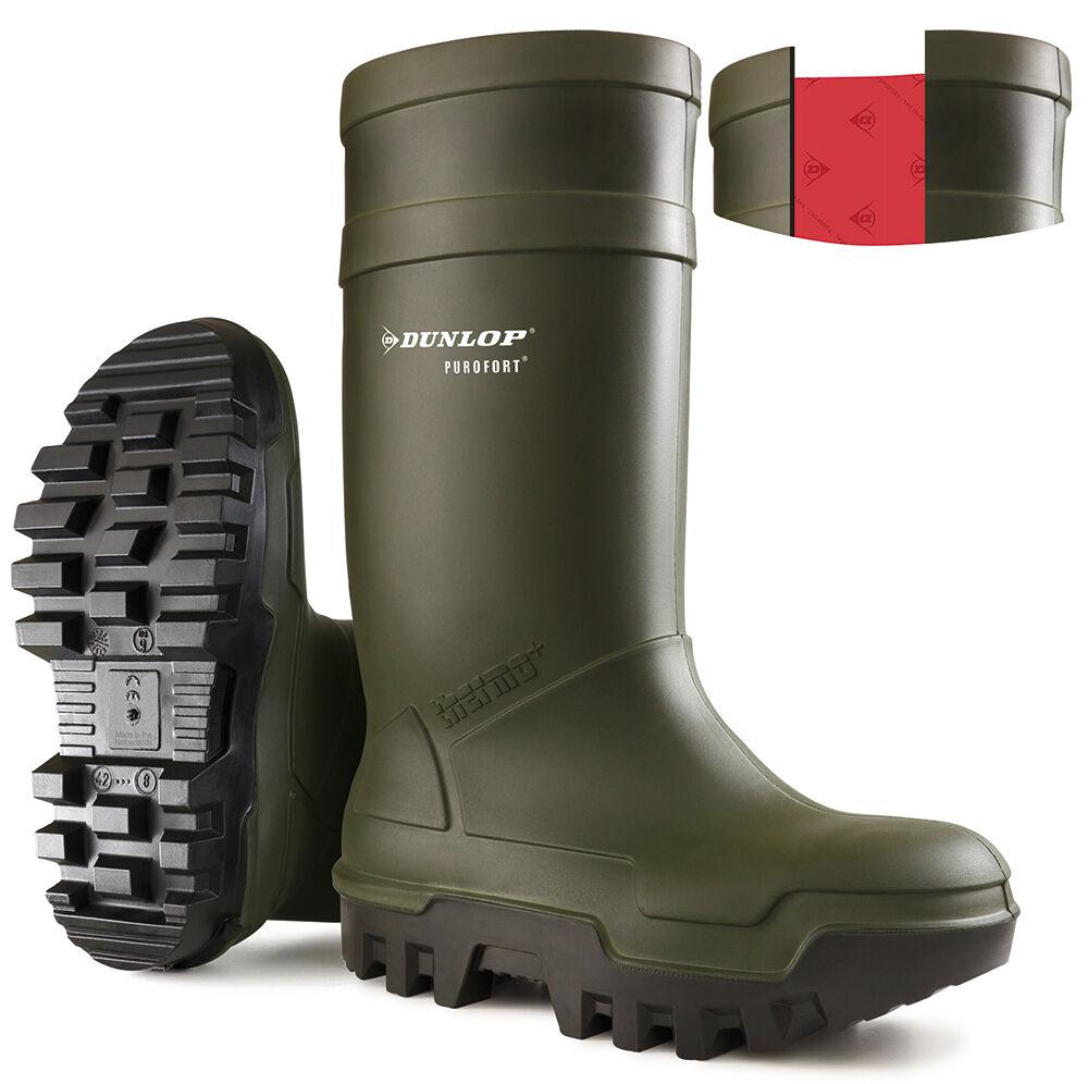 Dunlop Purofort Thermo + verde Naranja Wellingtons C662399 C662343 completo de la seguridad