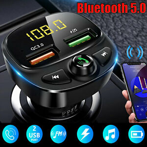Wireless-Bluetooth-5-0-FM-Transmitter-QC3-0-Car-USB-Charger-Adapter-Radio-Player