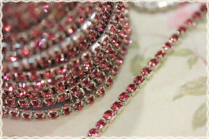 Imported From Abroad 50cm Catena Con Strass Ss12 Circa 3.2mm Color Base Argento E Strass Rosa Price Remains Stable Other Fashion Jewelry